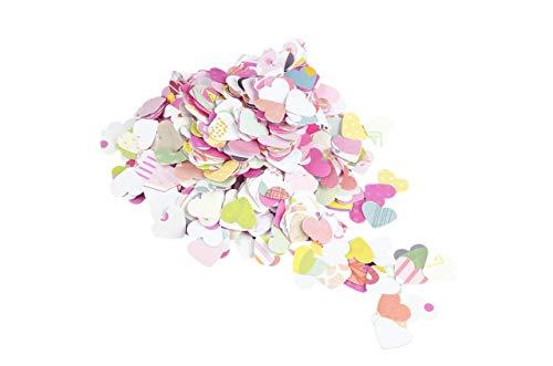 Confeti - scrapbooking papel - papel en forma de corazón - 18 g- color rosa (totalmente artesanal).