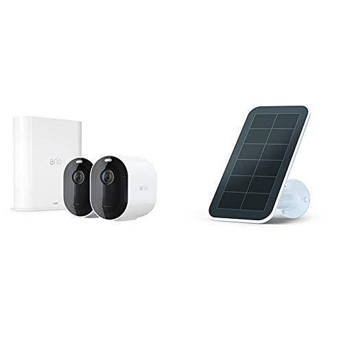 Arlo Pro 3   Pack de 2 caméras de Surveillance 2K HDR, Batterie Rechargeable Alarme Grand Angle 160° avec Panneau Solaire Waterproof, Batteries rechargées en Permanence sans contraintes