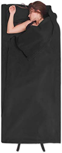 normani Fleece Schlafsack Hüttenschlafsack Inlet Liner - leicht, praktisch und warm [190 x 75 cm - 200g/m²] Farbe Schwarz