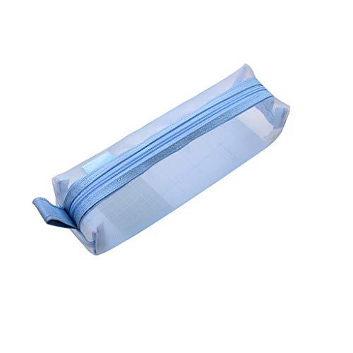 Caja exquisita La caja de lápiz de la pluma bolsa de la caja de la oficina del estudiante Claro cremallera lápiz bolsa transparente del recorrido de tocador bolsa de red de hilo de lona de las muchach