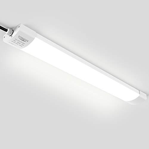 LED Feuchtraumleuchte Deckenleuchte 60cm 18W für Garage Keller Bad Werkstatt Feuchtraum Warenhaus, Tonffi LED Wannenleuchte Feuchtraumlampe Röhre, Wasserdicht IP65 Neutralweiß 4000K-4500K