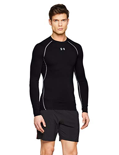 Under Armour UA HG Armour LS, Maglia A Maniche Lunghe Uomo, Nero (Black/Steel 001), S