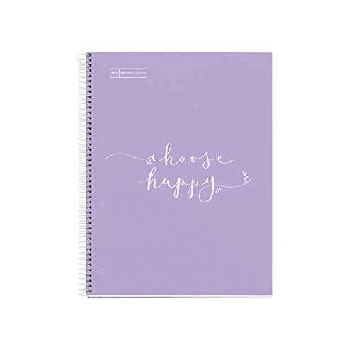 Miquelrius - Cuaderno Notebook Messages - 1 Franja de color, A4, 80 Hojas Rayas Horizontales Papel 90 g, 4 Taladros, Cubierta de Cartón Extra Duro, Color Lavanda