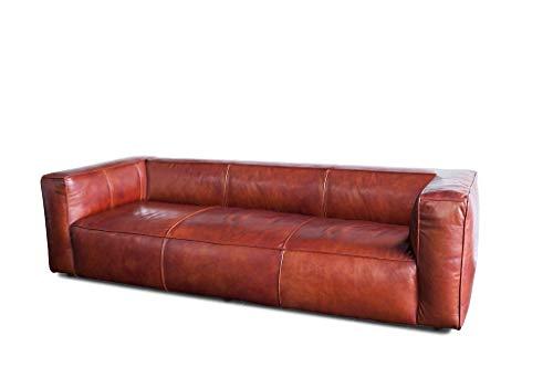 Sofá Vintage de Estilo escandinavo Krieger - Cuero de Plena Flor, Piel de Vacuno, Confort de Asiento | Elegancia y Comodidad de un sofá de Piel escandinavo - Rojo óxido (L252 x H65 x P109 cm)