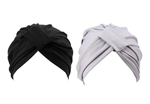 2pcs Frauen muslimische Kopftuch Indische Turban-Hüte Turbanmütze Kopfbedeckung Schlafmütze für Haarverlust, Chemo, Krebs Cap Chemotherapie,Onesize (Grau+Schwarz)