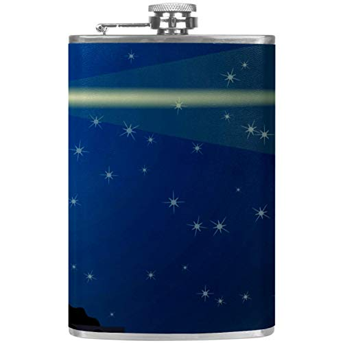 Petaca plana para licores de 237 ml con embudo, acero inoxidable y 100% a prueba de fugas, color azul