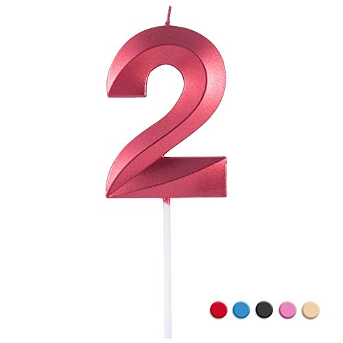 Birthday Candles Extended Big Number Candle Multicolor 3D Design Cake Topper Decoration for Any Celebration(2 Candle Red)