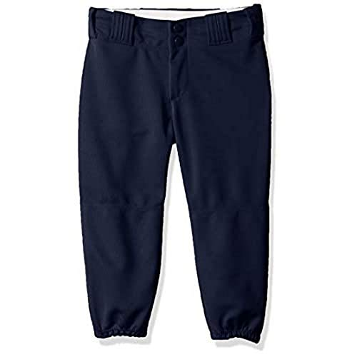 Alleson Athletic Girls Belt Loop Fastpitch Pant, Navy, Large