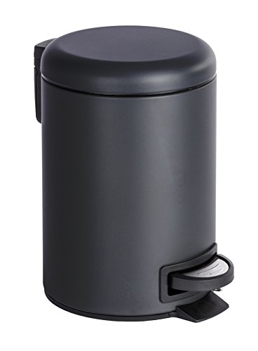 WENKO Kosmetik Treteimer Leman Schwarz 3 l - Kosmetikeimer, Mülleimer Fassungsvermögen: 3 l, Stahl, 17 x 25 x 22.5 cm, Schwarz