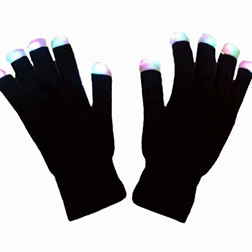 MILASIA LED Leucht Handschuhe, Blink Party Leuchthandschuhe für Halloween, Karneval, Weihnachten oder Mottoparties