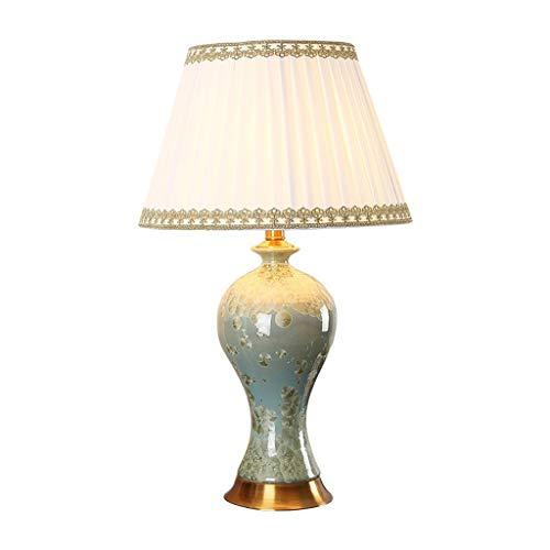 JJZXD Cerámica lámpara de Mesa, lámpara de Mesa de cerámica florero Shade Off Oval for el Dormitorio de la Sala de la Familia