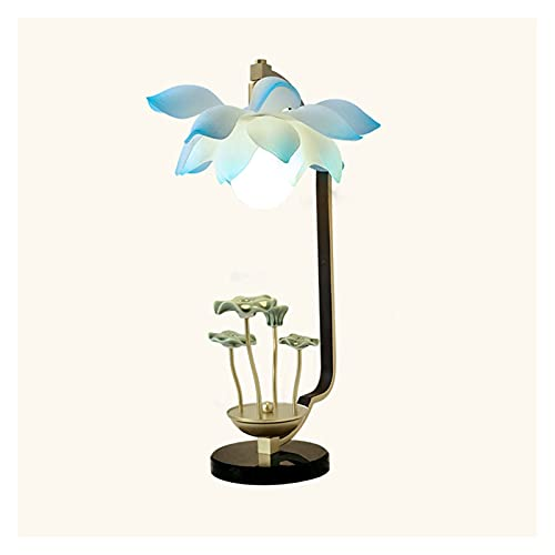 Lámpara de mesa Lámpara de loto colorida Lámpara de mesita de noche con lampana de resina Cerámica Lotus hoja de loto para dormitorio Sala de estar Casa de campo Lámpara Escritorio ( Color : B )