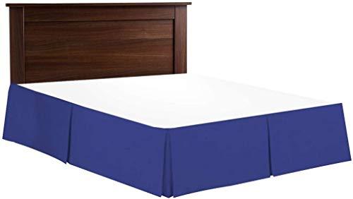 BeddingBasics Falda de cama de algodón egipcio de 650 hilos, estilo clásico plisado, con volantes, cobertura de tres lados, color azul real, individual (99 x 190 cm + 50 cm de caída)
