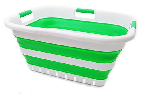 SAMMART Collapsible 3 Handled Plastic Laundry Basket - Foldable Pop Up Storage Container/Organizer - Portable Washing Tub - Space Saving Hamper/Basket (3 handled rectangular, Bright Green)