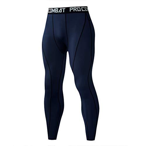 Zarupeng Herren Low Rise Leggings Elastische Trainingshose Lange Hose Slim Fit Home Hosen (M, Marine)