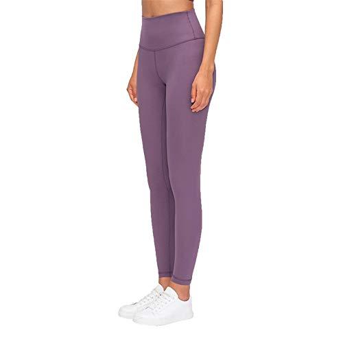 Pantalones de yoga con sensación desnuda y cintura alta, pantalones de yoga a prueba de sentadillas, leggings deportivos ligeros (color: morado iris, tamaño: XL)