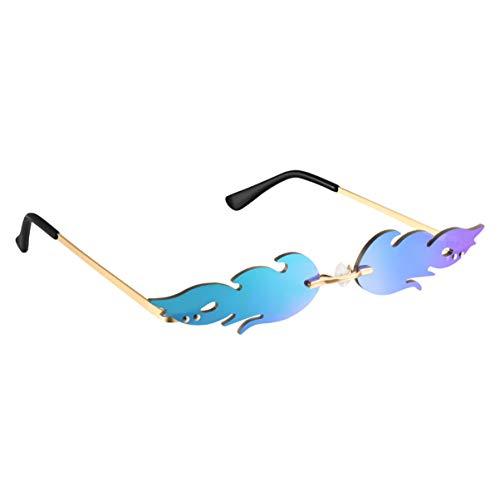 TOYANDONA 1Pcs Gafas de Sol de Llama de Fuego de Moda Gafas de Sol sin Montura de Llama para Gafas Unisex-Adultas de Europa Y América Gafas de Fiesta