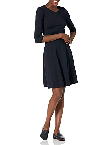 Lark & Ro Women's Three Quarter Sleeve Knit Fit and Flare Dress, Navy, Large