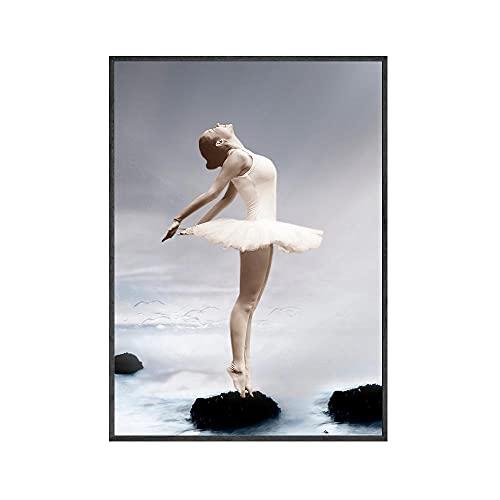 UHYGT Rosa Ballerina Mädchen Poster Nordic Wandkunst rosa Leinwand Malerei Ballett Drucke modernes Bild Wohnzimmer Mode Dekoration 40x60cmx1Kein Rahmen