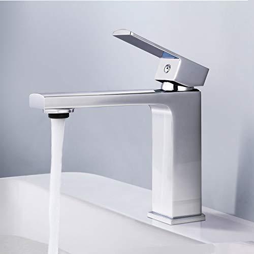 Tacklife DBWF01JD - Grifo para lavabo (perlator ABS de alta calidad y válvulas de cerámica, latón cromado, agua fría y caliente)