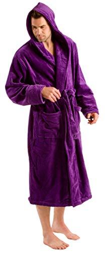byLora Bademantel mit Kapuze für Damen und Herren, Unisex One Size violett