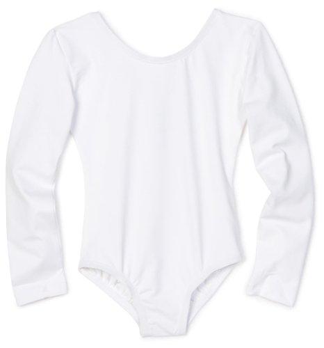Danskin Little Girls' Long-Sleeve Leotard, White, Toddler (2-4)