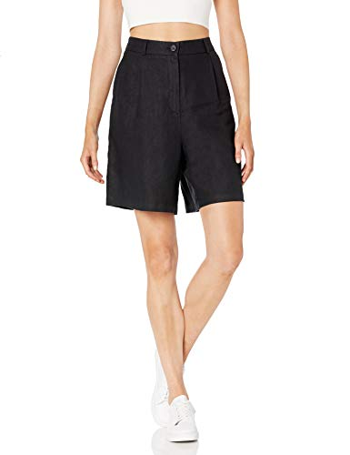 The Drop Women's Millie Loose-Fit Pleated Long Linen Walk Short