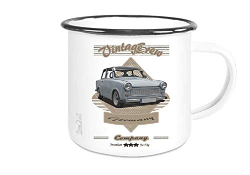 Fototasse weiß Emaille mit Motiv von Trabant Motivtasse Becher Kaffepott - Wunschtext auf Anfrage möglich - BuyPics4U - Tr36