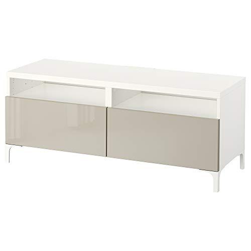 BEST<b Ławka TV z szufladami 120 x 42 x 48 cm biała/Selsviken wysoki połysk/beżowy
