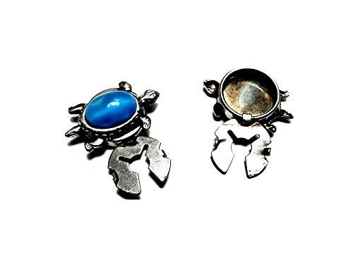 artigianale 1 par de cubrebotones de 18 mm, tortuga con piedra cabujón a elegir color metal y piedra para camisas de mujer o pulseras de hombre de regalo