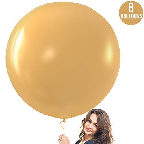Prextex Gold Giant Balloons - 8 Jumbo 36 Inch Gold Balloons...