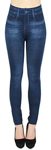 dy_mode Damen Thermo Leggings Thermohose mit Innenfutter - WL027 (36/38 - S/M, WL082-Blau)