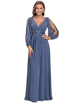 Ever-Pretty Women's Long Hollow Sleeve A-line Chiffon Bridesmaid Dress Haze Blue US6