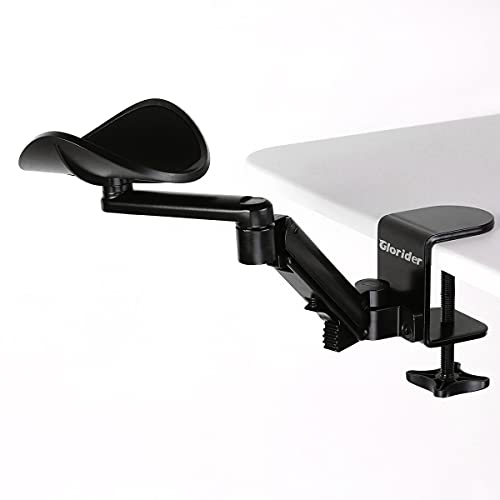 Glorider Adjustable Computer Arm Rest for Home&Office Desk, Wrist Rests Ergonomic Rotating Elbow Cushion Pad, Clamp-on Arm Support Realease Stress Eliminate Shoulder Pain