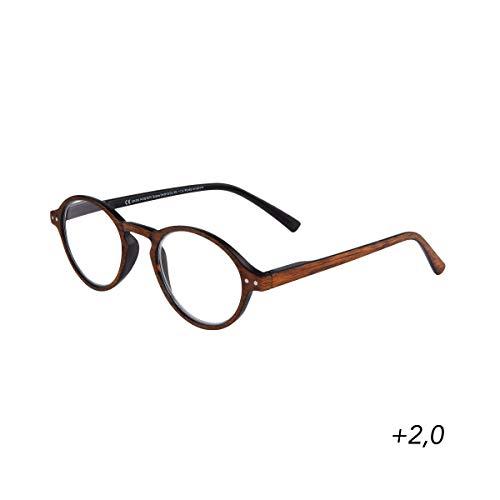 BUTLERS GOOD LOOKING - Lesebrille + 2,0 Dioptrien - Stylische Lesehilfe in Holz-Optik - Unisex Brille zum Lesen aus Kunststoff