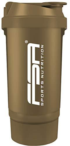 Proteína Shaker de 500 ml, con compartimento para los polvos de 100 ml, con tamiz, Botella Mezcladora, a prueba de fugas, BPA libre, FSA Nutrition - Oro