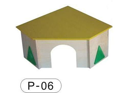PINOKINO houten huis P54 plat dak rond deurboog dak geel voor hamsters muizen 23 x 28 x 19 cm