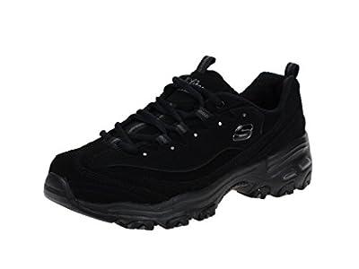 Skechers Sport Women's D'Lites Play on Memory Foam Lace-up Sneaker,Black/Black,7.5 W US