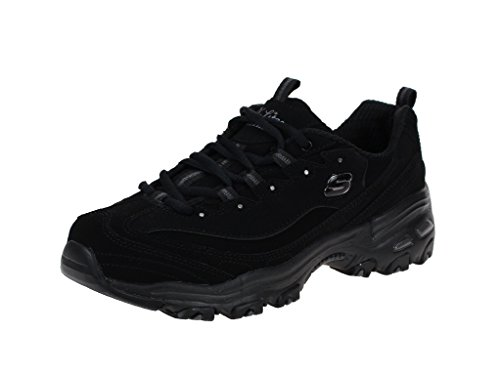 Skechers Sport Women's Dlites-play On Memory Foam Lace-up Sneaker,Black/Black,7.5 M US