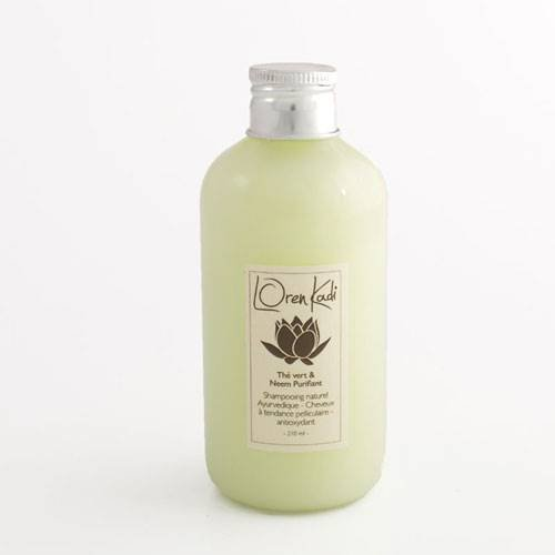 Loren Kadi - Shampoing - Anti Pelliculaire – Naturel, Ayurvédique – Vegan - « Thé vert & Neem Purifiant » - 210 ml