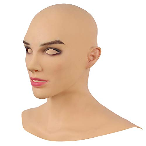 Yuewen European Beauty Girl Mask Realistic Handmade Silicone Head Mask for Crossdresser (dunkelbraun)