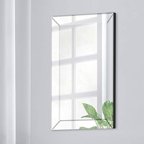 """16"""" x 24"""" Beveled Wall Accent Mirror With Angled Beveled Mirror Frame"""