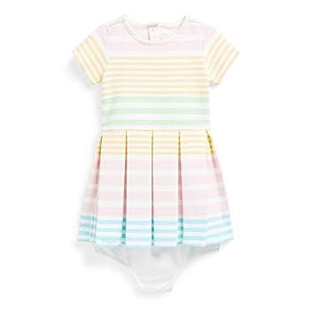 Ralph Lauren Baby Girl Striped Knit Dress & Bloomer 2 Piece Set  White Multi 2001  12 Months