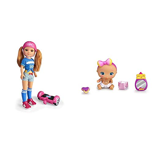 Nancy - Un Día con Mi Hoverboard, Muñeca Mecánica con Patinete Hoverboard + The Bellies from Bellyville-Kuki Cute, Muñeca bebé interactiva