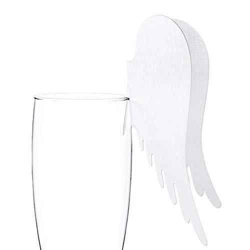 PartyDeco CF 10 Tischkarten Engelsflügel Dekoration aus Papier, Weiß