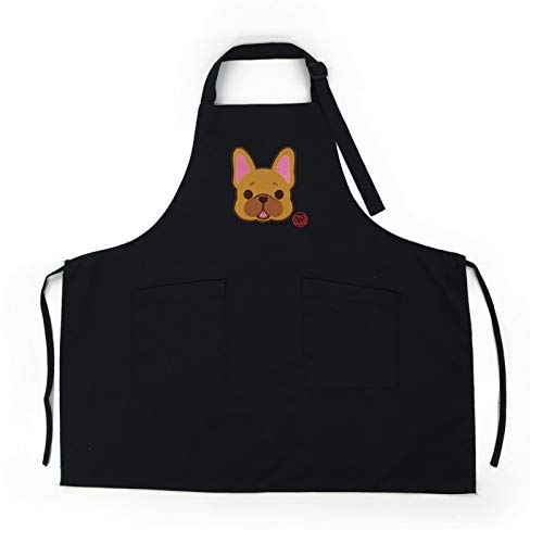 DOGGOFASHION French Bulldog Black Adjustable Apron 2 Pockets Home Kitchen Garden Restaurant Cafe Bar Pub Bakery Grilling Cooking Chef