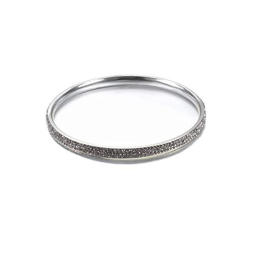 Glamouröses & Elegantes Armband Armreif aus hochwertigem Chirurgenstahl für Frauen Damenschmuck Silber verziert mit Farbigen Edelsteine (Transparent Mehrfarbig)