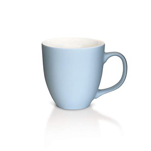 Mahlwerck Jumbotasse, Große Porzellan-Kaffeetasse mit Soft-Touch Oberfläche, in Soft-Babyblau, 400ml