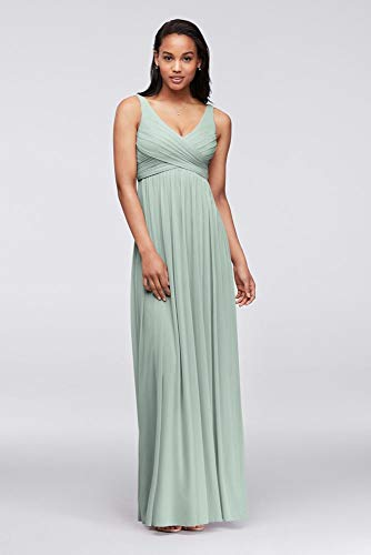 David's Bridal Long Mesh Bridesmaid Dress with Cowl Back Detail Style F15933, Dusty Sage, 4