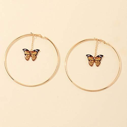 SALAN European French Circle Hollow Earrings Womens Fashion Round Butterfly Ear Ring Pendant Korean Earrings Jewelry For Girls